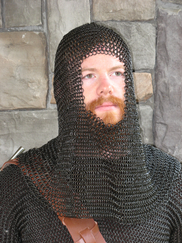 Black Steel Chain Mail Coif
